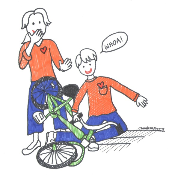 Learning to ride a bike illustr by Jennifer Miller