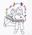 Mom and Son Reading Together illust by Jennifer Miller