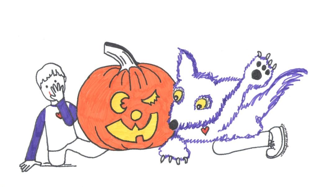 Purple wolf, pumpkin and boy illustration by Jennifer Miller