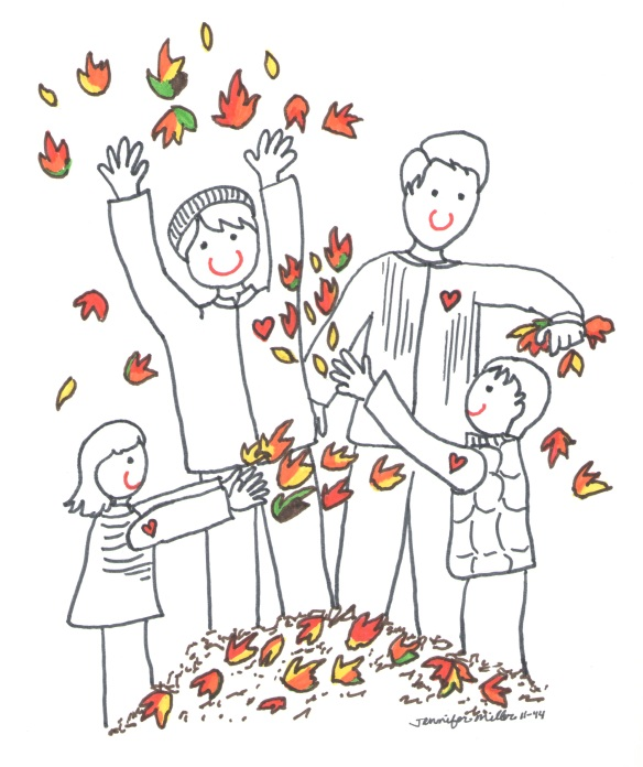 Family playing in the leaves illus by Jennifer Miller