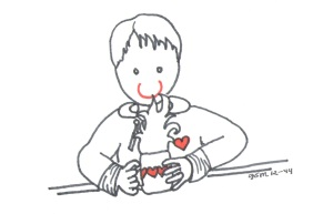 Boy smelling hot chocolate 2014 illust by Jennifer Miller