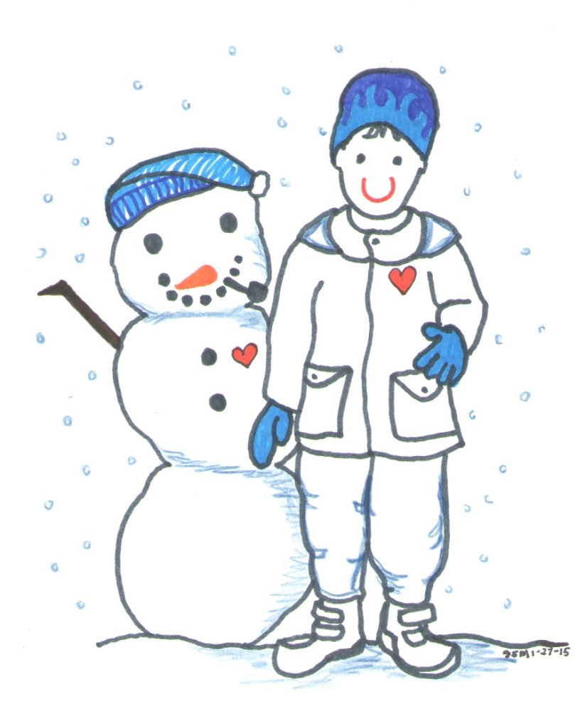 Snow Day Kid and Snowman by Jennifer Miller