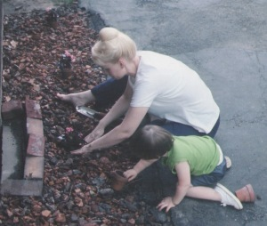 Jenn, Mom gardening pic 1