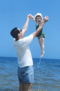Dad and Jenny at the beach
