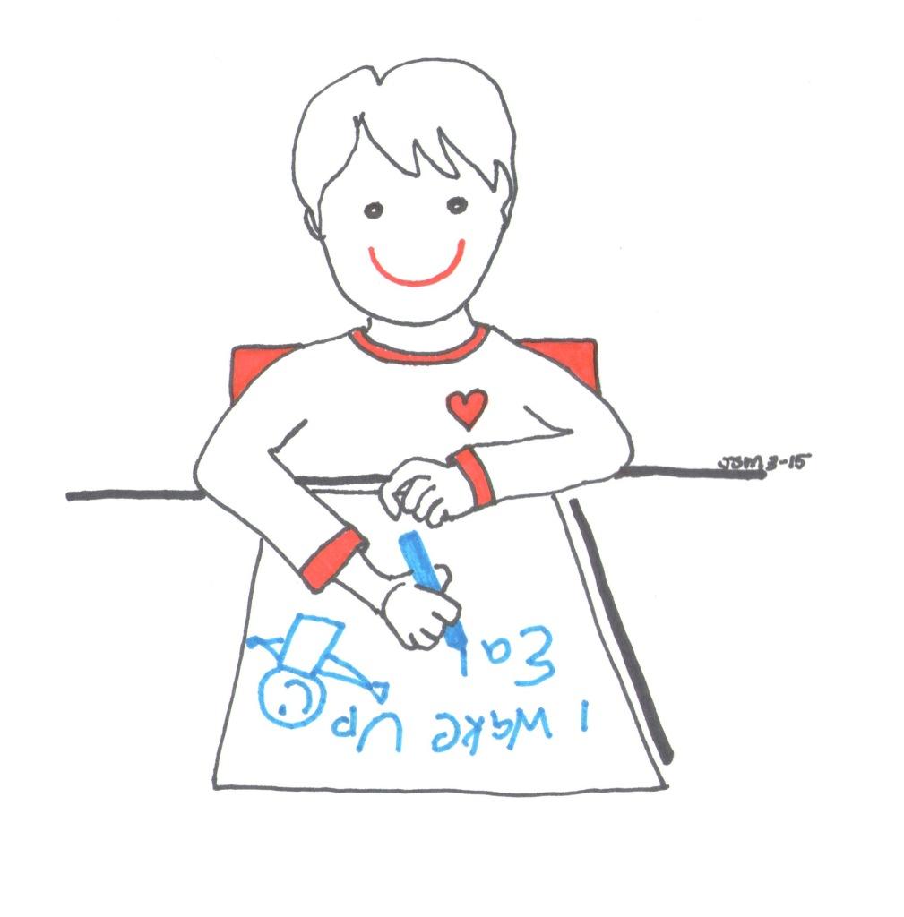 Boy Writing Poster by Jennifer Miller