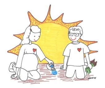Mom Dad caring for seedling by Jennifer Miller